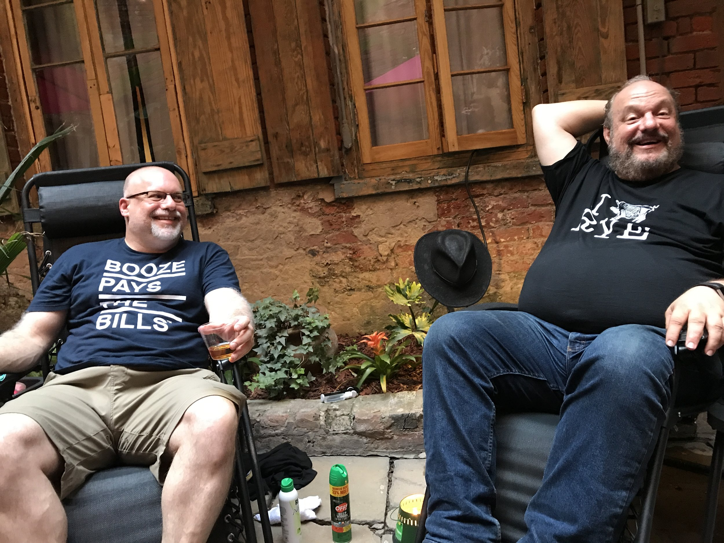 Adam Levy (L) kicks back with Master Distiller Dave Pickerell at Tales of the Cocktail in 2018. Pickerell sadly passed in November, and cherished moments like these will be greatly missed.