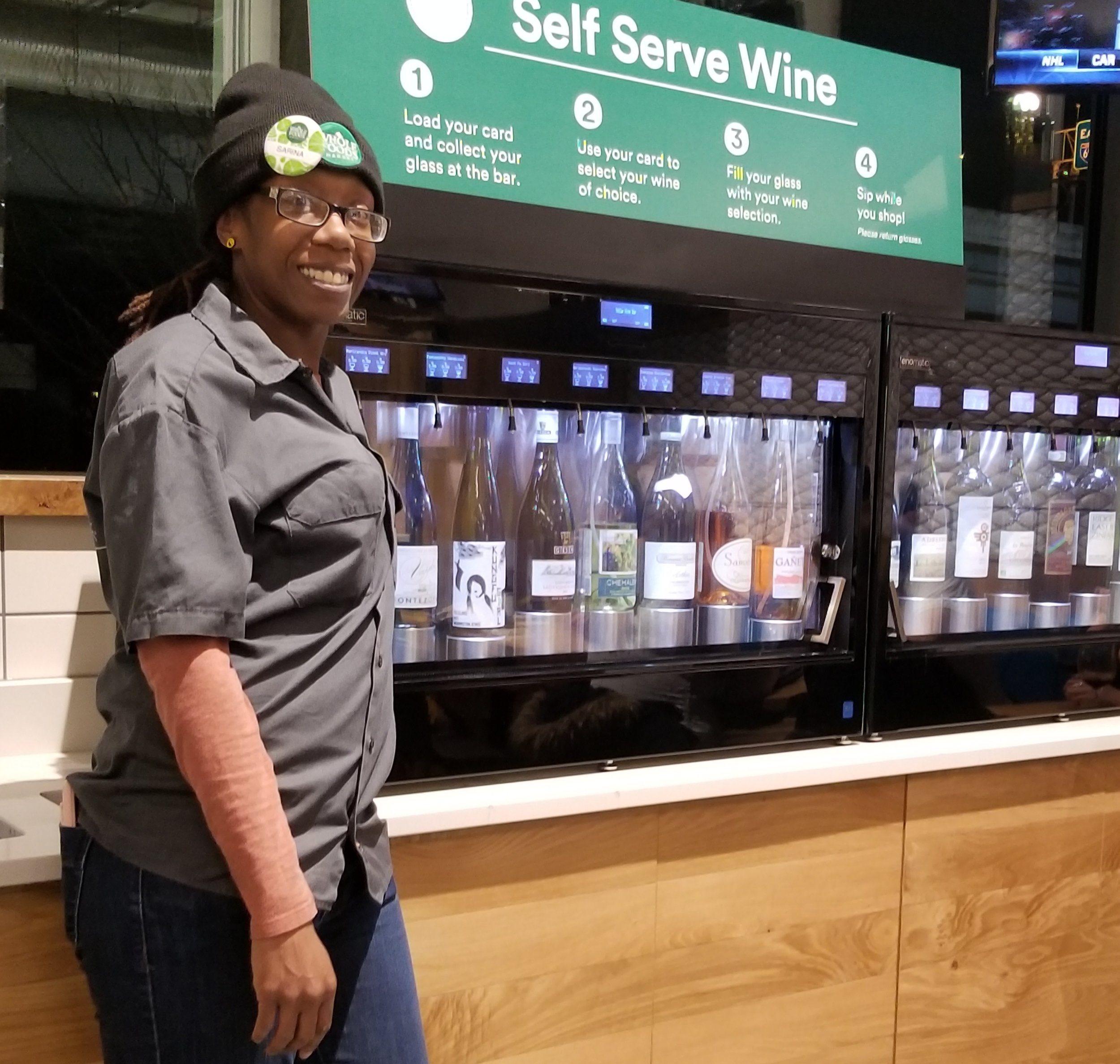 Bartender Sarina Roye at SoCap Wine Bar inside Whole Foods in DC.