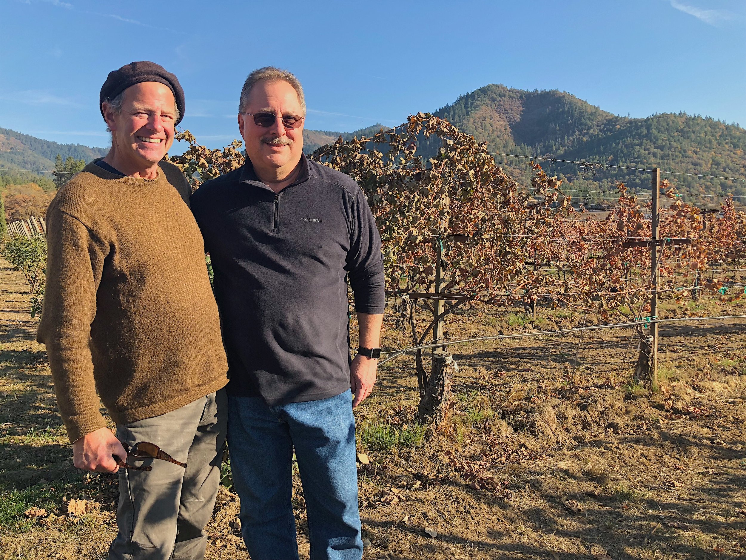 Troon winemaker Steve Hall (L) and general manager Craig Camp