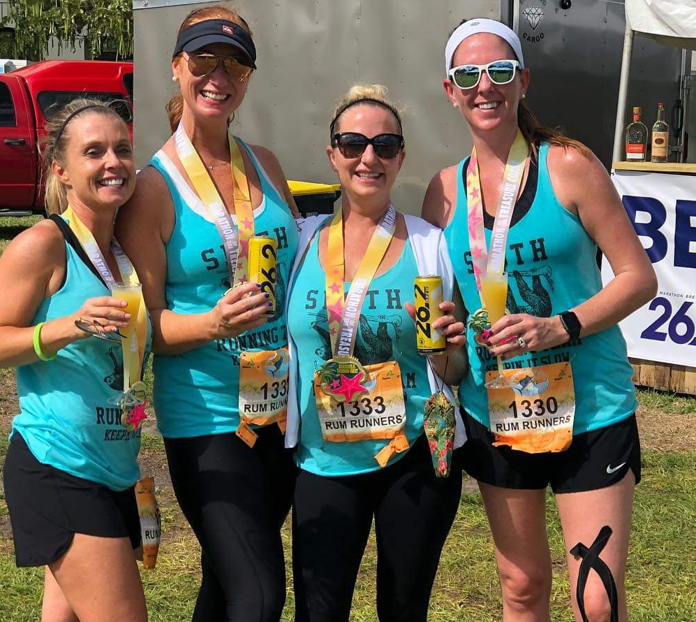 Jamie Dowd, Carrie Browne, Jamie Taylor and Beth Mourelatos with 26.2 Brew after running in the Marathon of the Treasure Coast in Stuart, Fl., photo courtesy Jamie Taylor