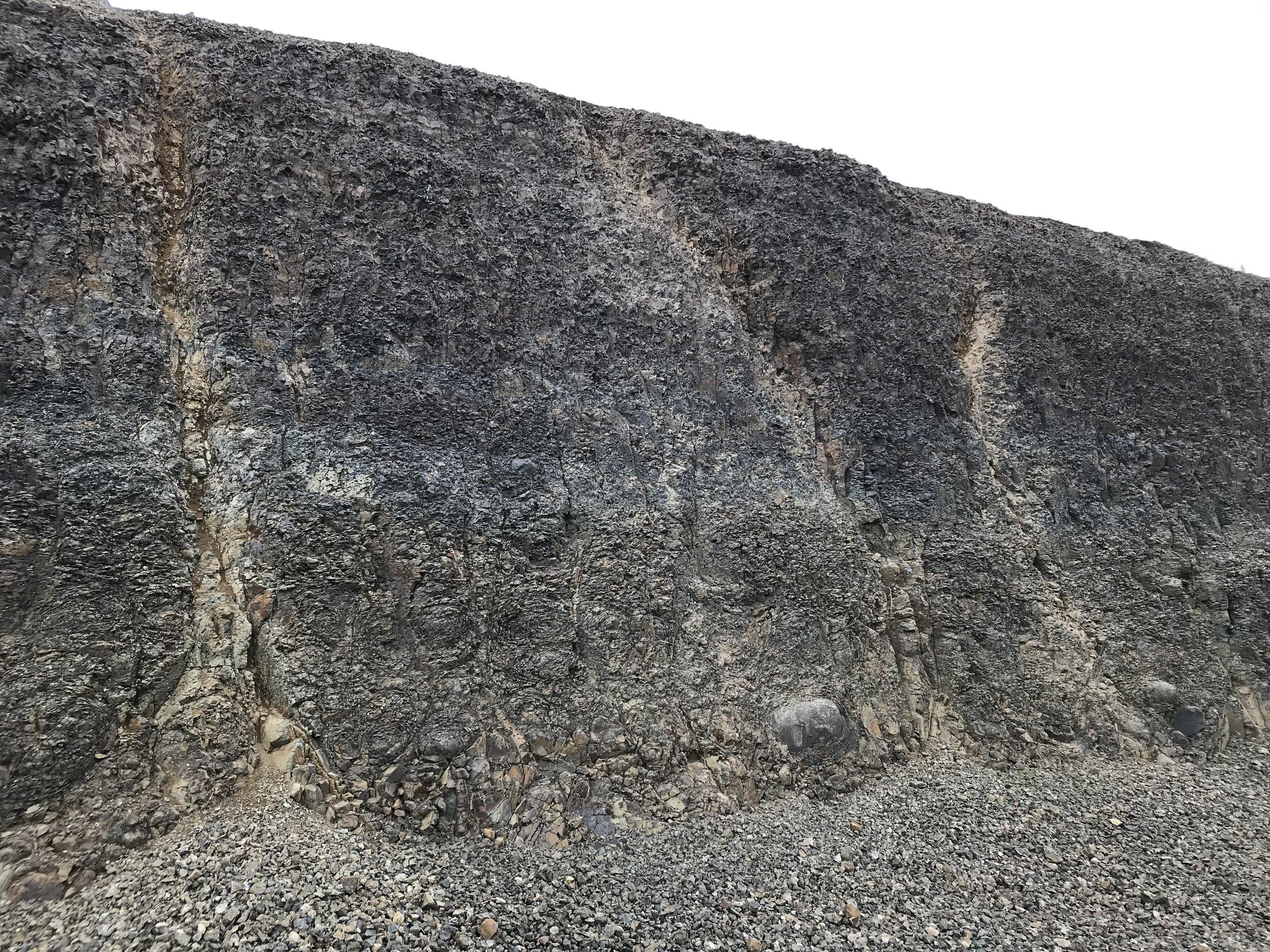 towering rock formation in the Ferguson Vineyard in the Sevein Vineyard Development, adjacent to Seven Hills
