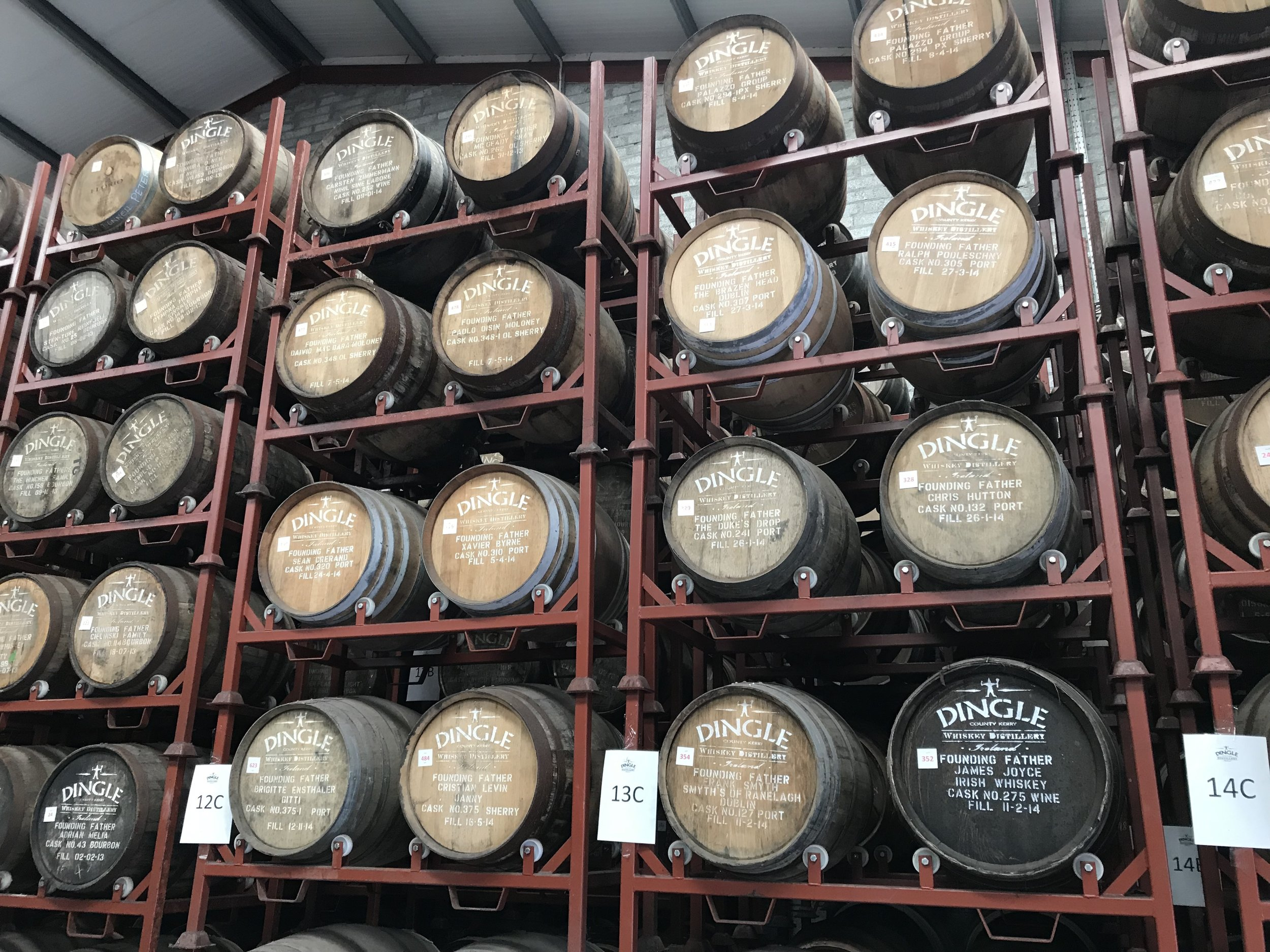 Some of the Founding Father casks at the new warehouse