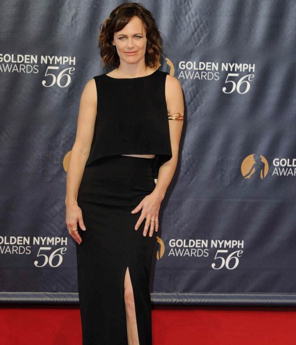 Sarah Clarke wearing the Athena cuff in gold  June 2016