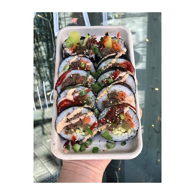 We don't have it often, but we'll have it today! Come enjoy our kimbap made by our very own @kvro320! • There's also an event going on @bow.market where you can hangout around fire pits and drink anywhere in the market! Limited tickets at the door.