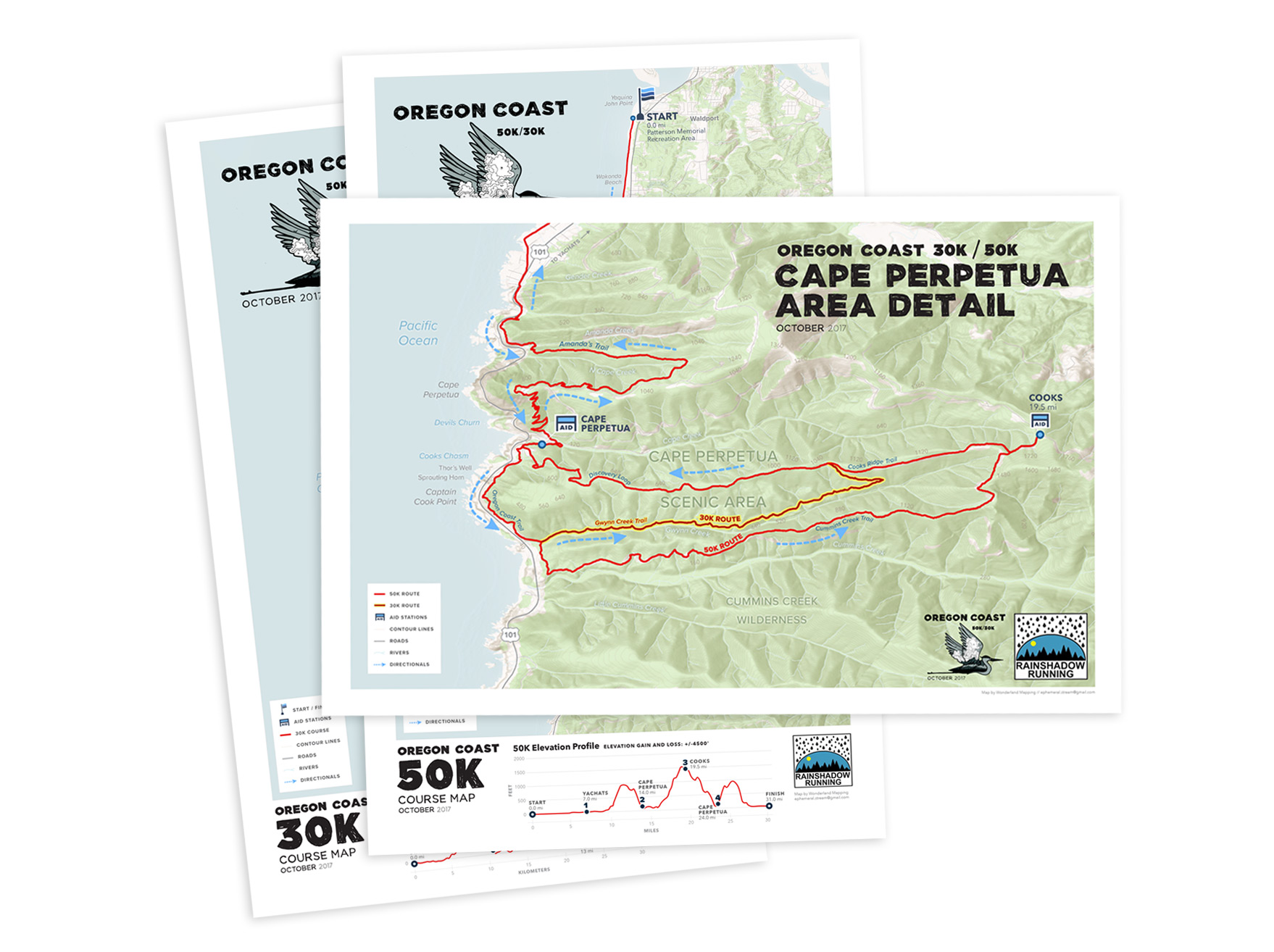 Rainshadow Running's Oregon Coast 30K/50K and Cape Perpetua detail.