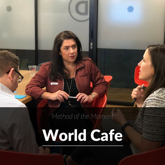 """Have you heard of """"World Cafe"""" ☕️? Coffee not necessary (but appreciated). World Cafe is an awesome method for facilitating large group conversations. Break everyone out at small round tables and allow members to move from table to table in order to get a """"well-rounded"""" conversation going. Ideas abound… . Learn more at www.theworldcafe.com . . . . #worldcafe #worldcafemethod #facilitation #brainstorm #team #future #withcocreate #problemsolving #makegoodcompany"""