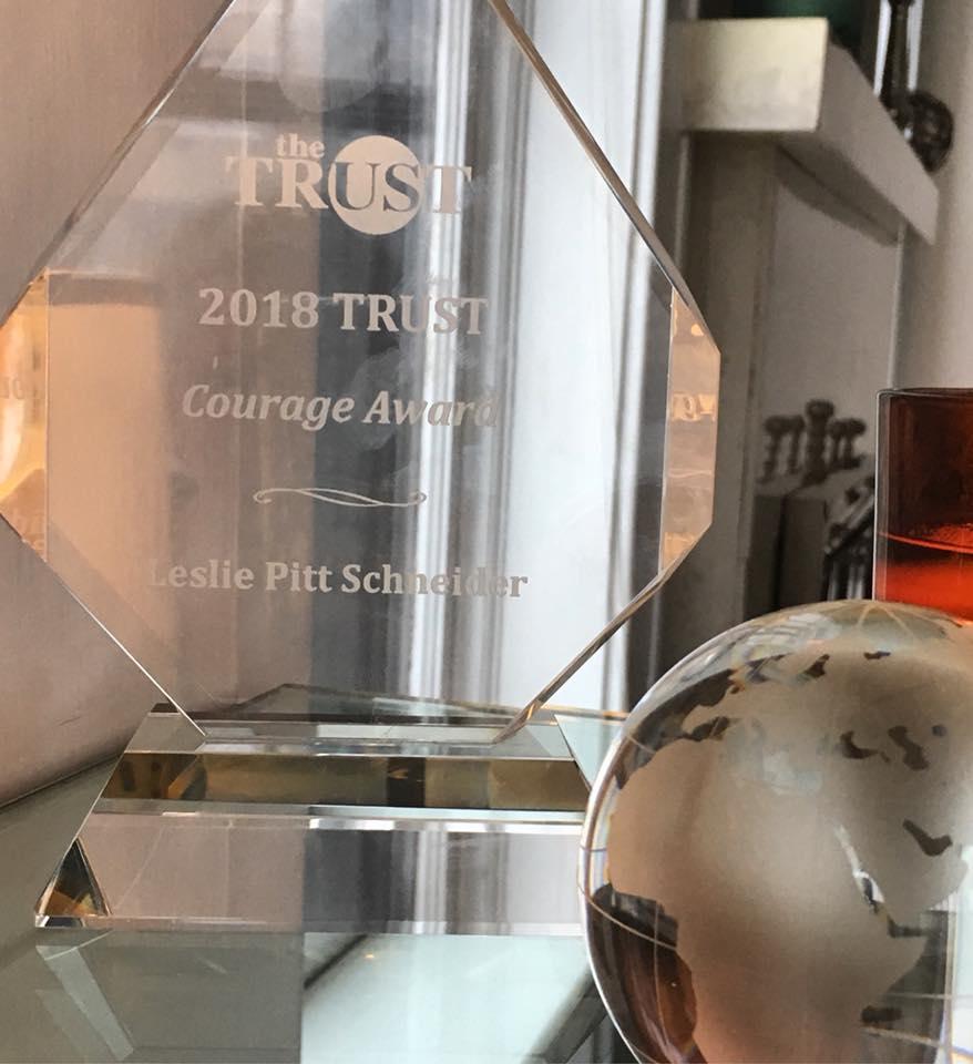 Leslie Pitt Schneider's 2018 TRUST Courage Award displayed at her home in Minneapolis, Minnesota. Image credit: Leslie Pitt Schneider