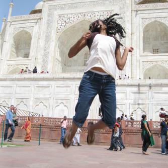 Chelsea at the Taj Mahal in India