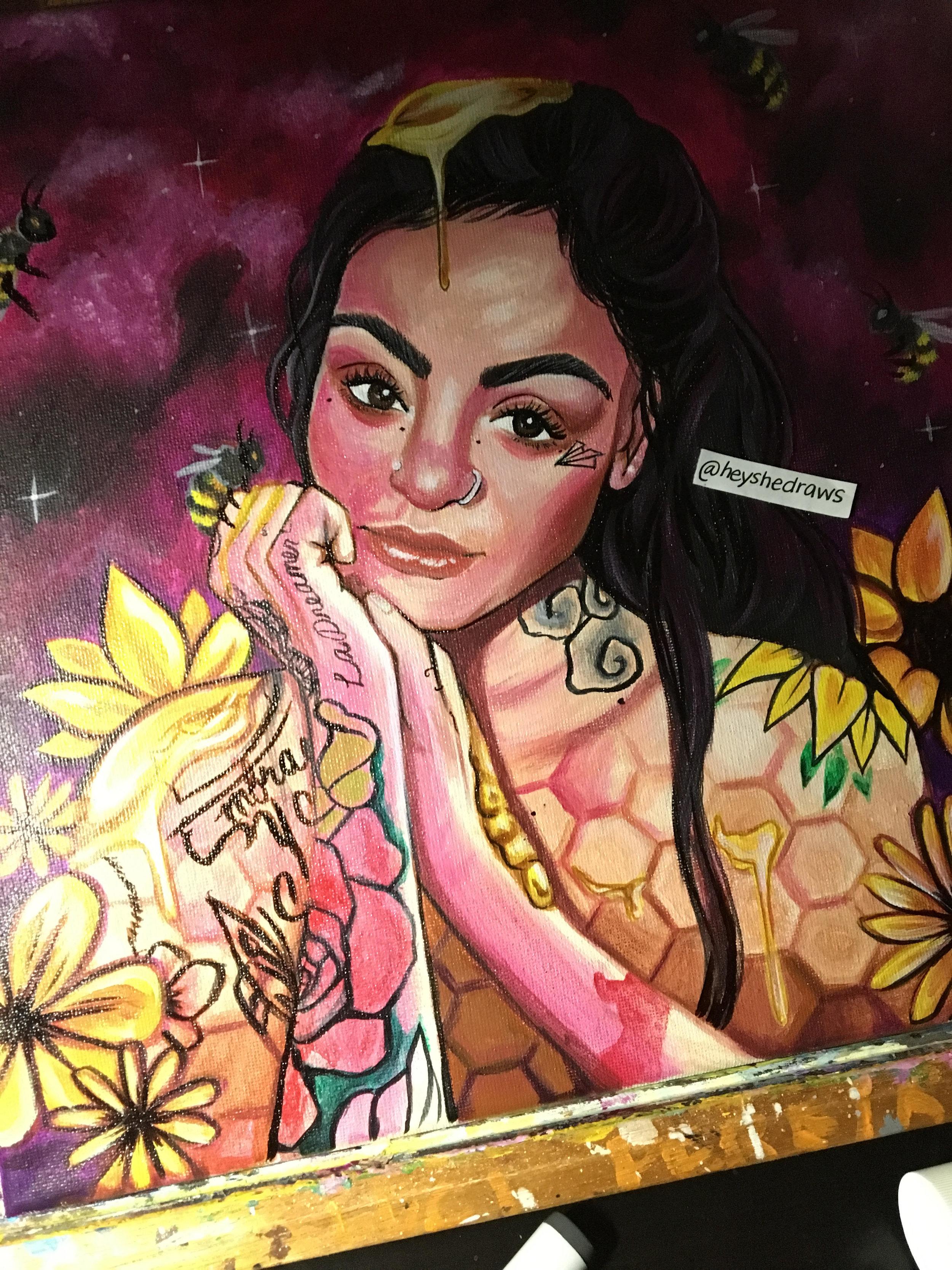 "Kehlani, ""Honey"" inspired painting by @heyshedraws"