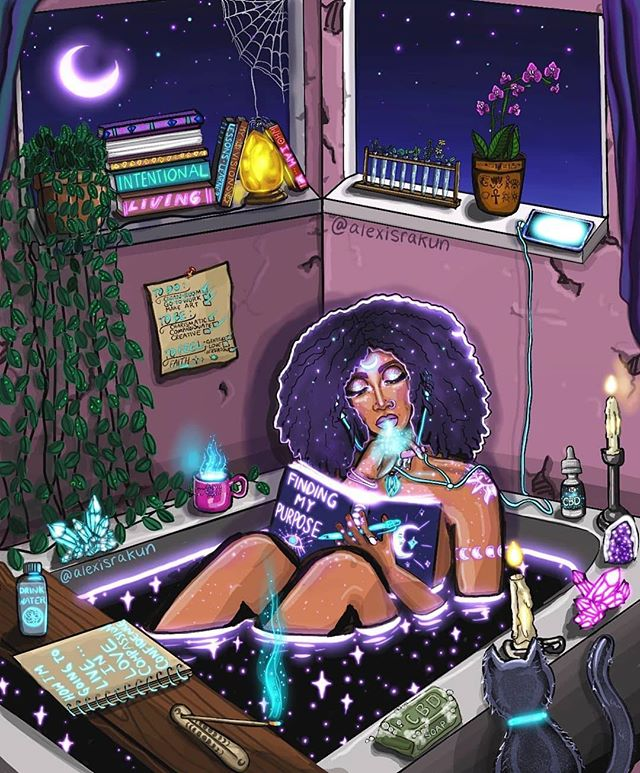 "#repost from artist, @alexisrakun 💫 spring equinox + tonight's libra full moon aligns the ideal time to cleanse, set intentions and manifest. spending extra time with our self-care routines and journaling during this shift will bring help bring us clarity on the path towards fulfilling our purpose ✨ ・・・ 🕯📚 🔮✍ | Manifesting a magical-ass life. With intention, purpose, and action. ✨📖🕯☕🌿🍯 | I often think about how I want to leave this Earth and the people I love. It's easy to forget how short-lived this experience is as a human. We sometimes get numb and lost ~ instead of excited and focused. For every new day we receive and person right next to us, here to teach us something. I want to live in a child-like manner. Curious, open, enthusiastic, and creative. Adults can get too* practical, too cautious, too judgemental, too stagnant, and too comfortable. My purpose, at least at this point, is to bring beauty, inspiration, curiosity, wisdom, and perspective. This gives clarity and intention to my days and life to my art. What's your purpose? Or intentions for the people in your life. ✨✍🕯 . . . Art inspired by @robineisenberg 🛁🔮🕯✍ Check her out! Her work is awesome. . . . And thank you to @thoughtcl0ud #cbd for helping me to stay peaceful and creative. You have changed my life for the better. In so many way. Soothes my anxiety and keeps my brain-inflammation super tamed. 🍯🌿 use discount: ""healing"" if you want to try some. 🕯✨ . . . . . #digitalart #procreate #digitalart #illustration #digitalillustration #blackqueens #blackisbeautiful #manifestion #loa #inspiration #instagramartists #procreate #procreatedrawing #thursday #goodvibes #mood"