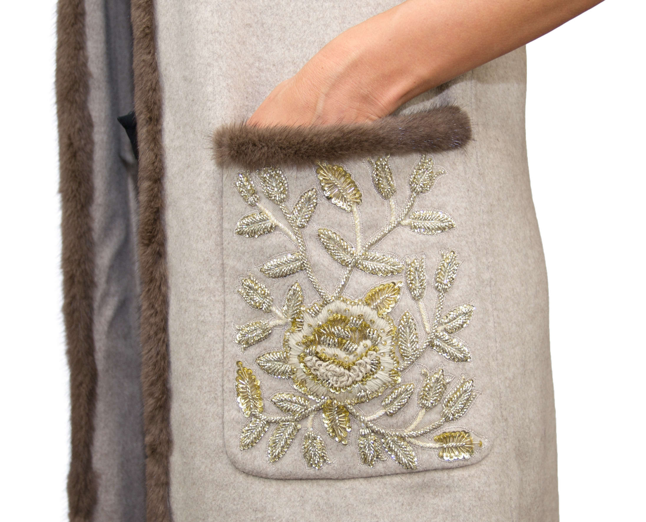 Jasmine Long Beige Gilet w Sequins- Close Up.jpg