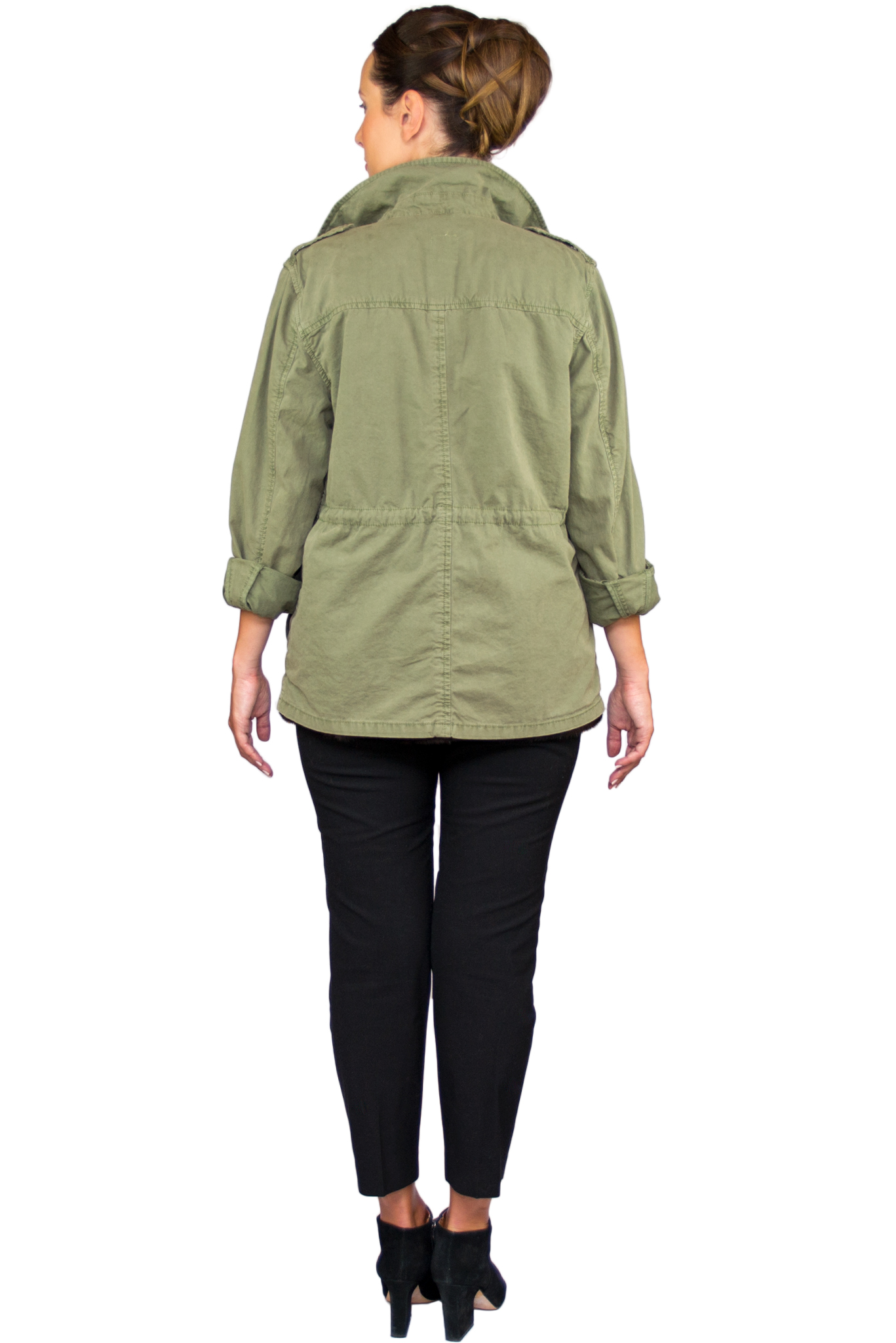 Laila Army Jacket w Mink Interior- Back.jpg