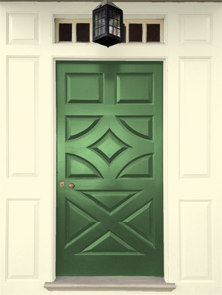 My front door is flanked by two tall narrow windows and cream colored brick, but you can envision how this toned down Bunker Hill Green from Benjamin Moore Classics collection will look.