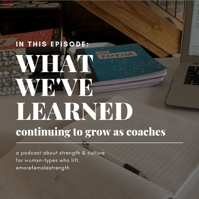 THE NEXT EPISODE OF THE MORE FEMALE STRENGTH PODCAST IS PUBLISHED! Download it wherever you listen to podcasts.⠀⠀⠀⠀⠀⠀⠀⠀⠀ *⠀⠀⠀⠀⠀⠀⠀⠀⠀ Cassi and Katherine are back from hiatus and take a moment to share some exciting personal updates! Then we take a look at our growth as coaches over time. We share what we used think was true, and discuss the things we do differently based on what we think is true NOW.⠀⠀⠀⠀⠀⠀⠀⠀⠀ *⠀⠀⠀⠀⠀⠀⠀⠀⠀ #morefemalestrength #getloudandtakeupspace #alwayslearning #changeisgood #programmingforallathletes #programmingchanges #personalgrowth