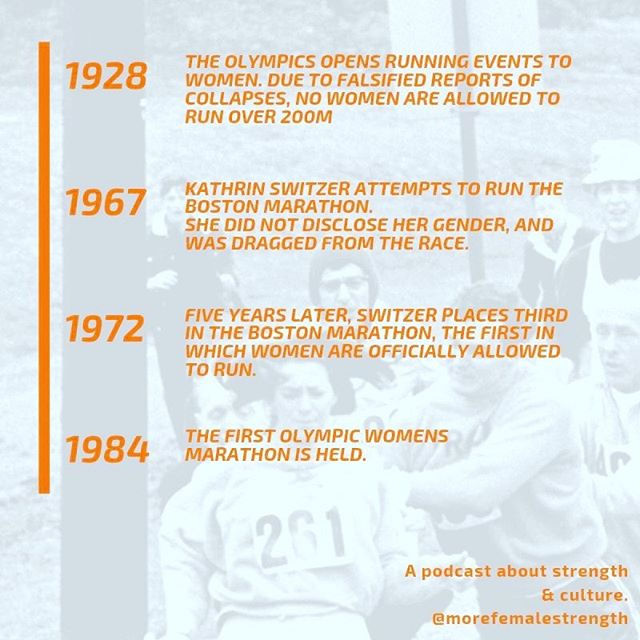 "Women's sports competitions are disturbingly new. Most competitions accessible to women, meaning women's sports as we know them, developed in the last 20-40 years, despite decades of demonstrated interest and individual practice. • In 1967, Kathrine Switzer attempted to run the Boston Marathon, signing up under her initials. She was dragged off the race course. In 1972, women were admitted to the race, and she placed third. After a long career of running, she returned to the Boston race in 2017, and reflected on her initial run, describing it as ""a defining moment for me and women runners throughout the world. ...The result [was] nothing less than social revolution. There are now more women runners in the United States than men."" • In our next episode, we talk about the history of women's sports in the context of establishing ""fairness"" in sport across and within gender categories.  #morefemalestrength #getloudandtakeupspace"