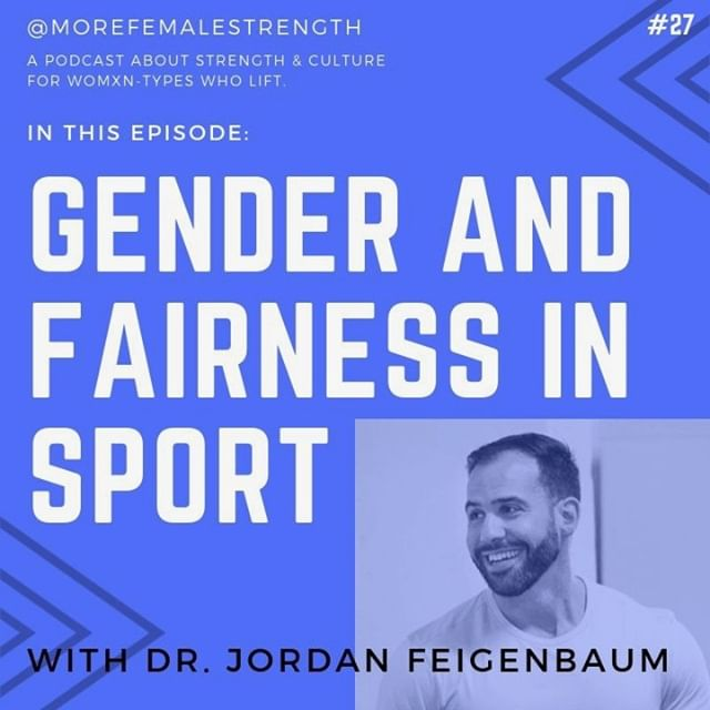 "Episode 27 is finally out for your listening pleasure! Download wherever you listen to podcasts.⠀⠀⠀⠀⠀⠀⠀⠀⠀ *⠀⠀⠀⠀⠀⠀⠀⠀⠀ We sit down with Dr. Jordan Feigenbaum (@jordan_barbellmedicine) from @BarbellMedicine to talk about his recent article, 'Shades of Gay: Sex, Gender, and Fairness in Sport,"" in which he busts the myth of ""biological sex,"" describes the relative recency of women's sports, gives a history of gender elegibility testing in sport, and points out where the current rulebooks fail. In short, this issue is full of nuance, and we get into it all!⠀⠀⠀⠀⠀⠀⠀⠀⠀ *⠀⠀⠀⠀⠀⠀⠀⠀⠀ You can find the article in the link in our bio, on the BBM website or on our own website - www.morefemalestrength.com, where you can find ALL our podcasts, notes, links and more! Give it a read and let us know what you think! #morefemalestrength #getloudandtakeupspace"