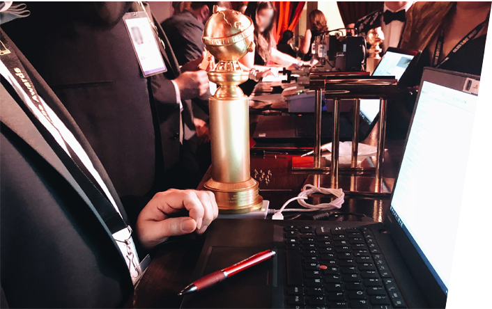 Writing data into golden globe trophy with NFC reader