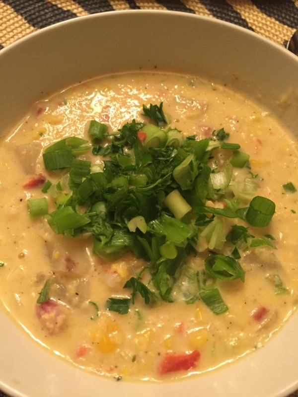 Corn chowda topped with green onions!
