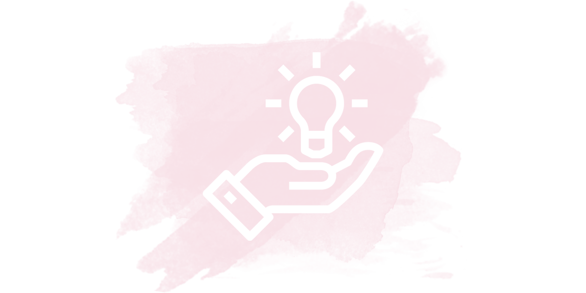 The outline of a white hand holding a light bulb on a pink watercolor background.
