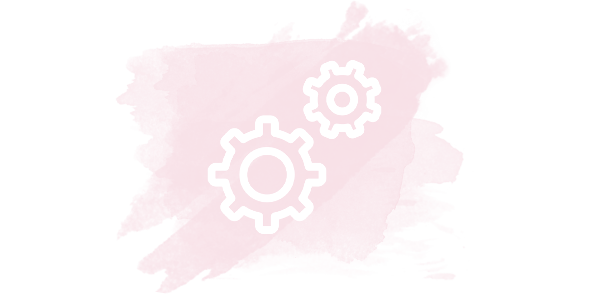 The outline of a white cogs on a pink watercolor background.