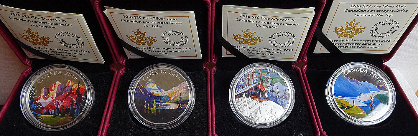 1oz. Fine Siver Coloured $20 Coins