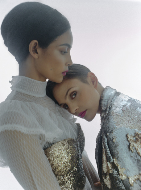 Fanah (left) wears dress  Car2ie  Nina wears jacket and top  Mariana Jungmann