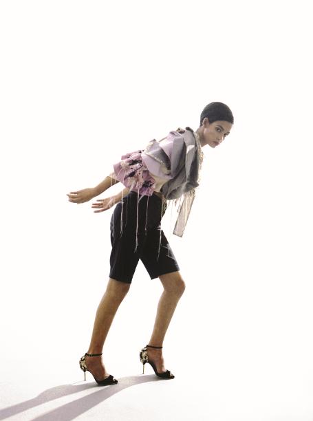 cape  Liza KAIN  shorts  WangLiLing  shoes  Piagetti