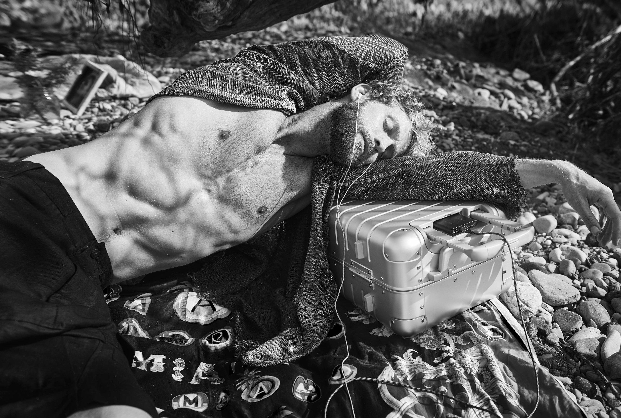 jacket  Avant Toi  shorts  Tom Rebel  towel  Versace  (vintage) suitcase  Away