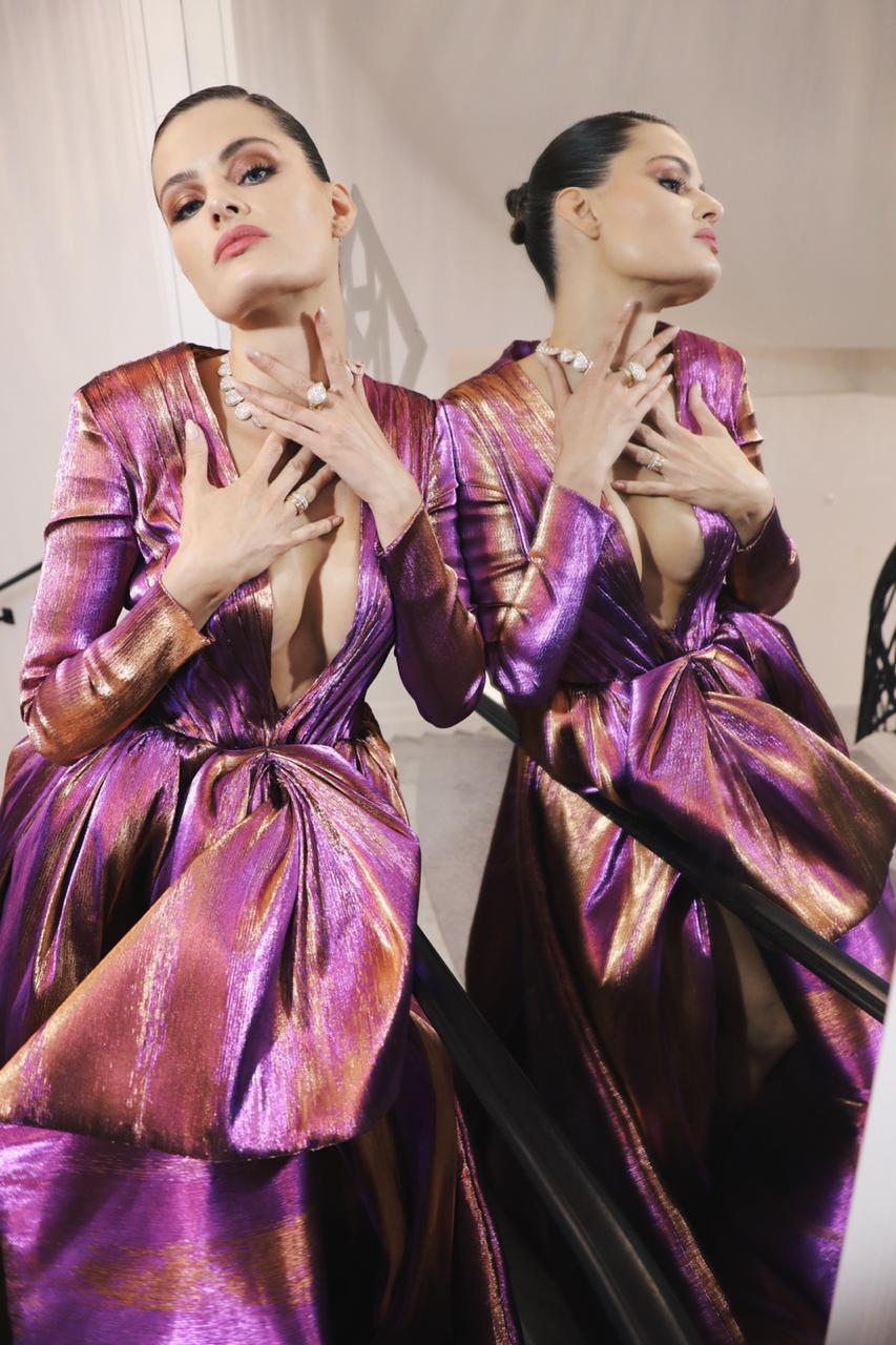 dress  Ali Younes  couture shoes  Giuseppe Zanotti  jewelry  Boucheron