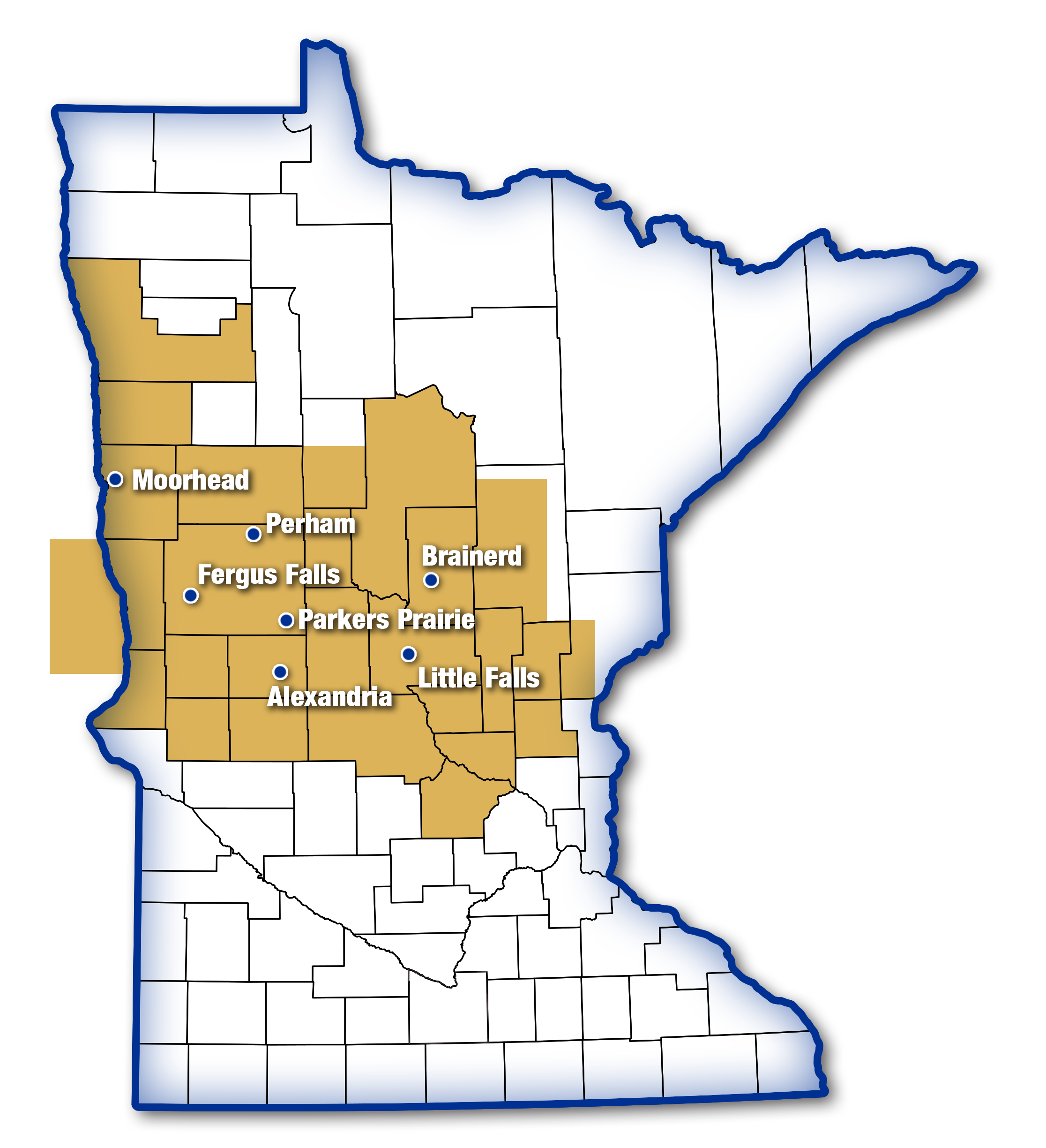 This is a map of the State of Minnesota showing the area where Productive Alternatives serves clients and employers.