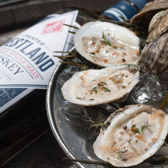 You know we had to add a little #whiskey to our $1 oyster mignonette. Oyster Hour starts today at 5pm! Check our stories for the full menu. 💥