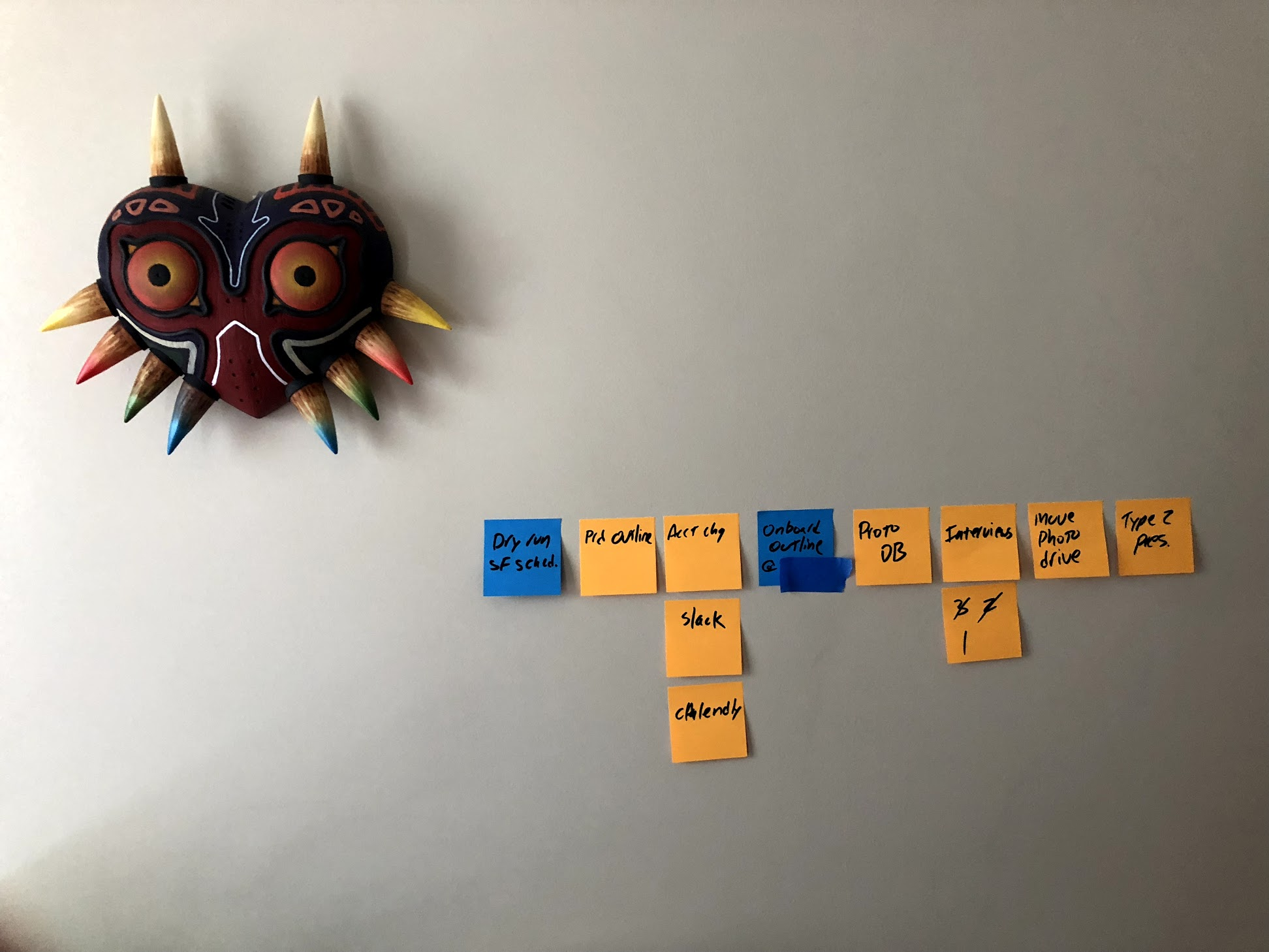 "The ""wall of post-it notes"" in greatly reduced form. Since our interview, it's grown about 3x over. :)"