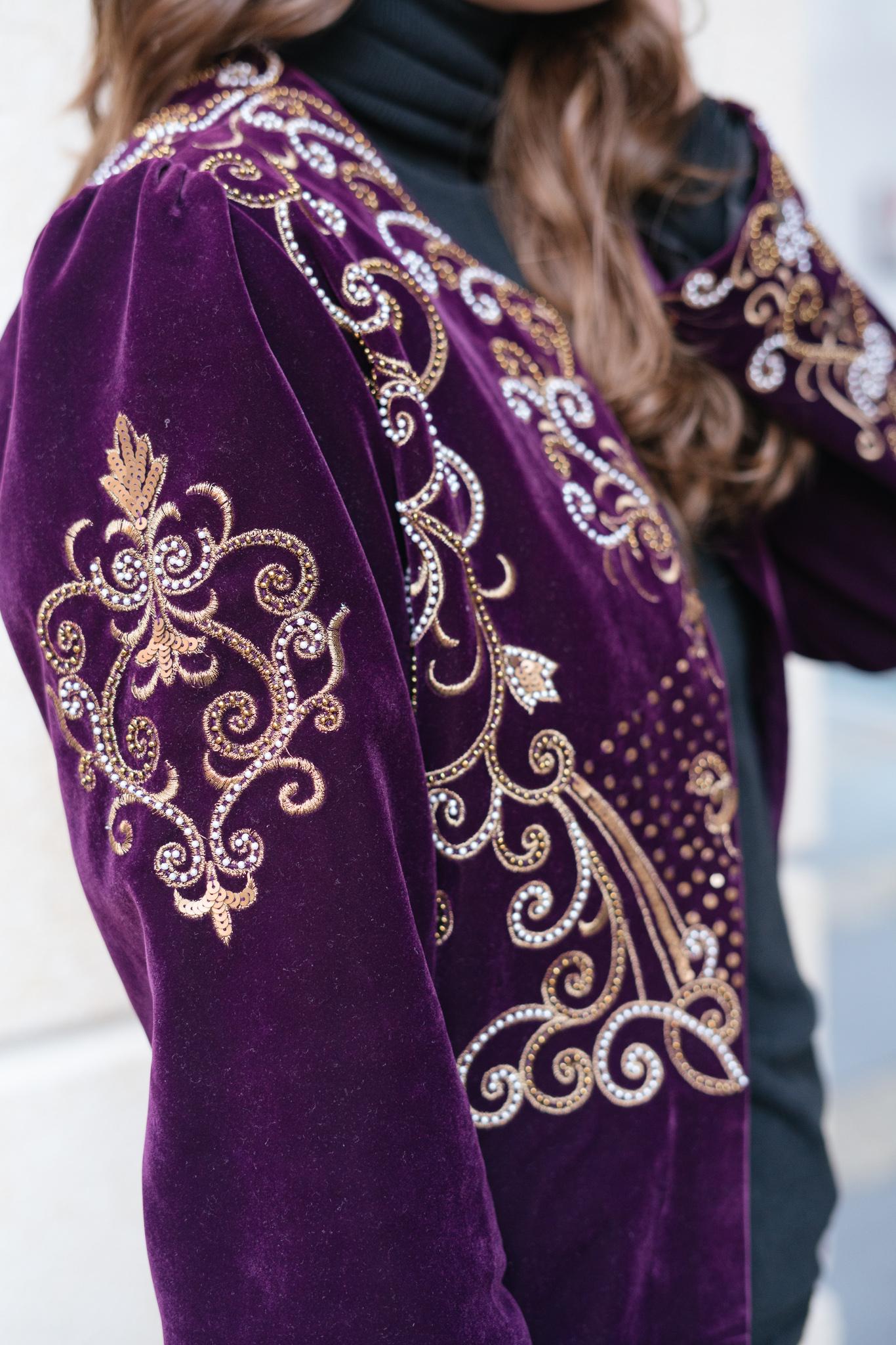 Purple Embroidered Blazer Jacket