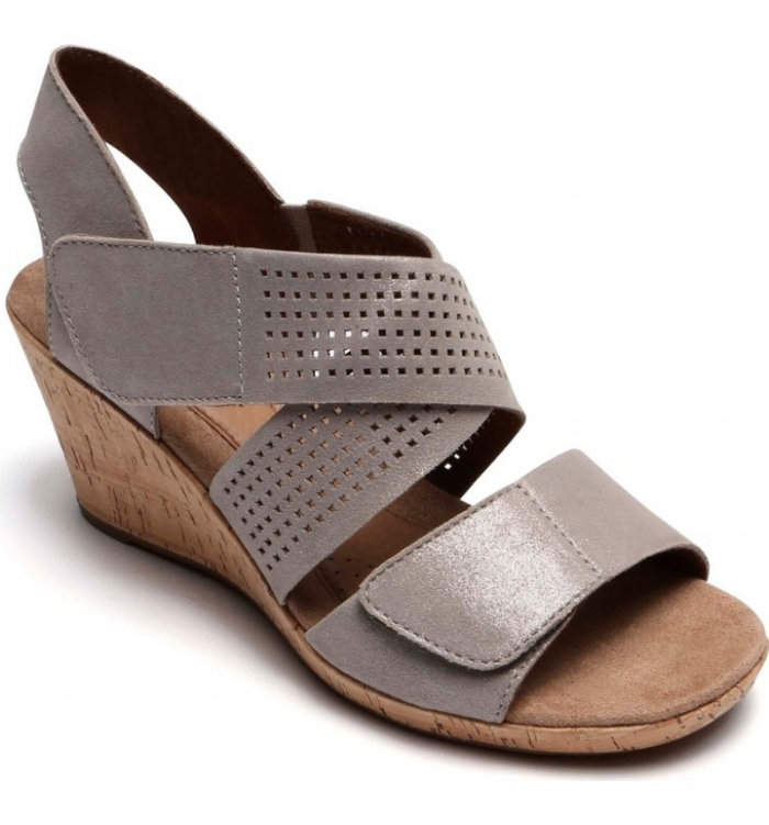 Janna Cross Strap Wedge Sandal - Metallic Nubuck Leather (PC: Nordstrom.com)