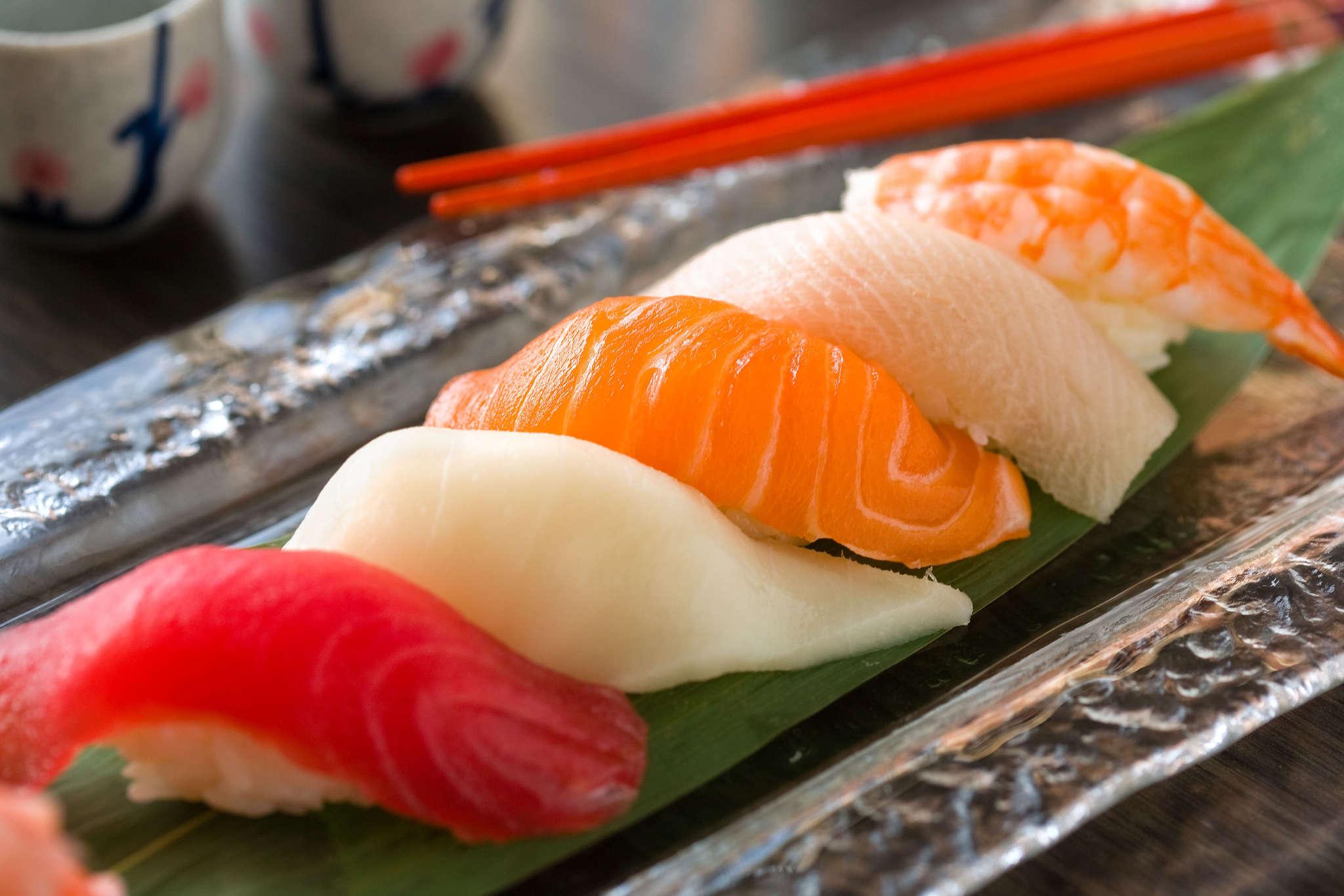 Tuna and Salmon Nigiri