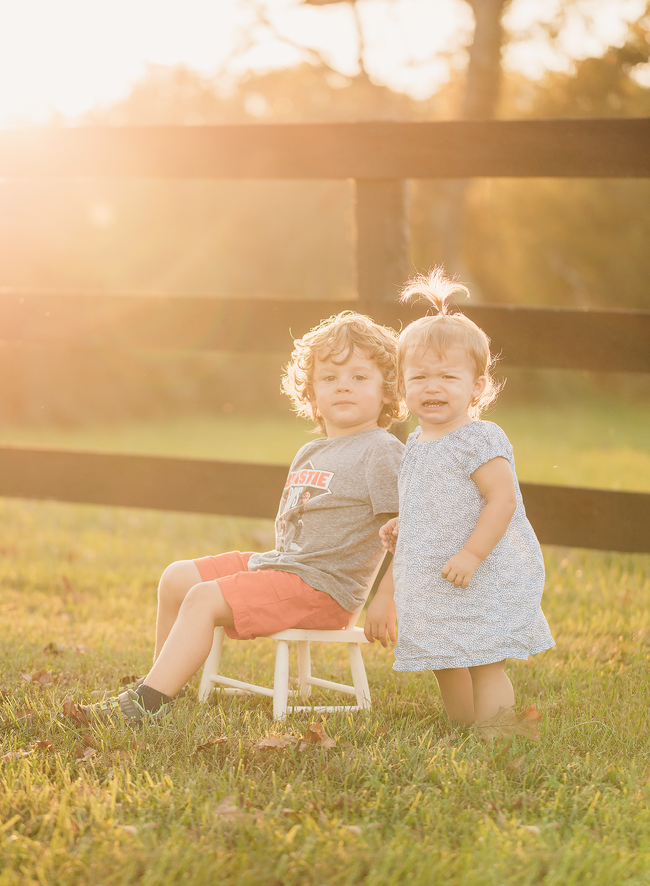 I took the kiddos here to check out the light, play some soccer and get some nice images of them. Instead I get this...however, Captures like this absolutely crack me up. Fiona wants her chair back, Jacob looks pretty proud at having stolen it from her.