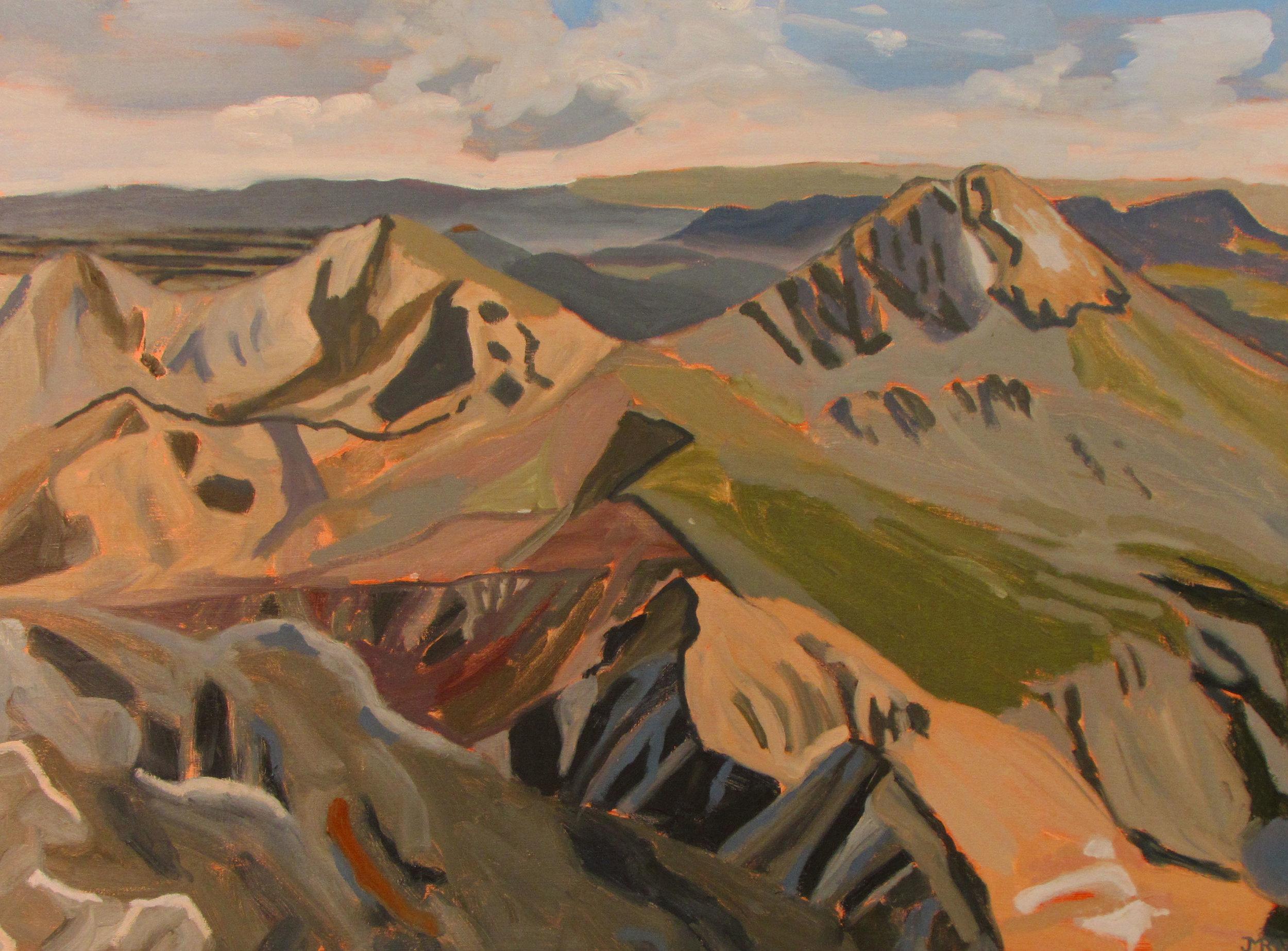 """Summit vista from Mt. Blanca, 36"""" x 48"""", 2017"""