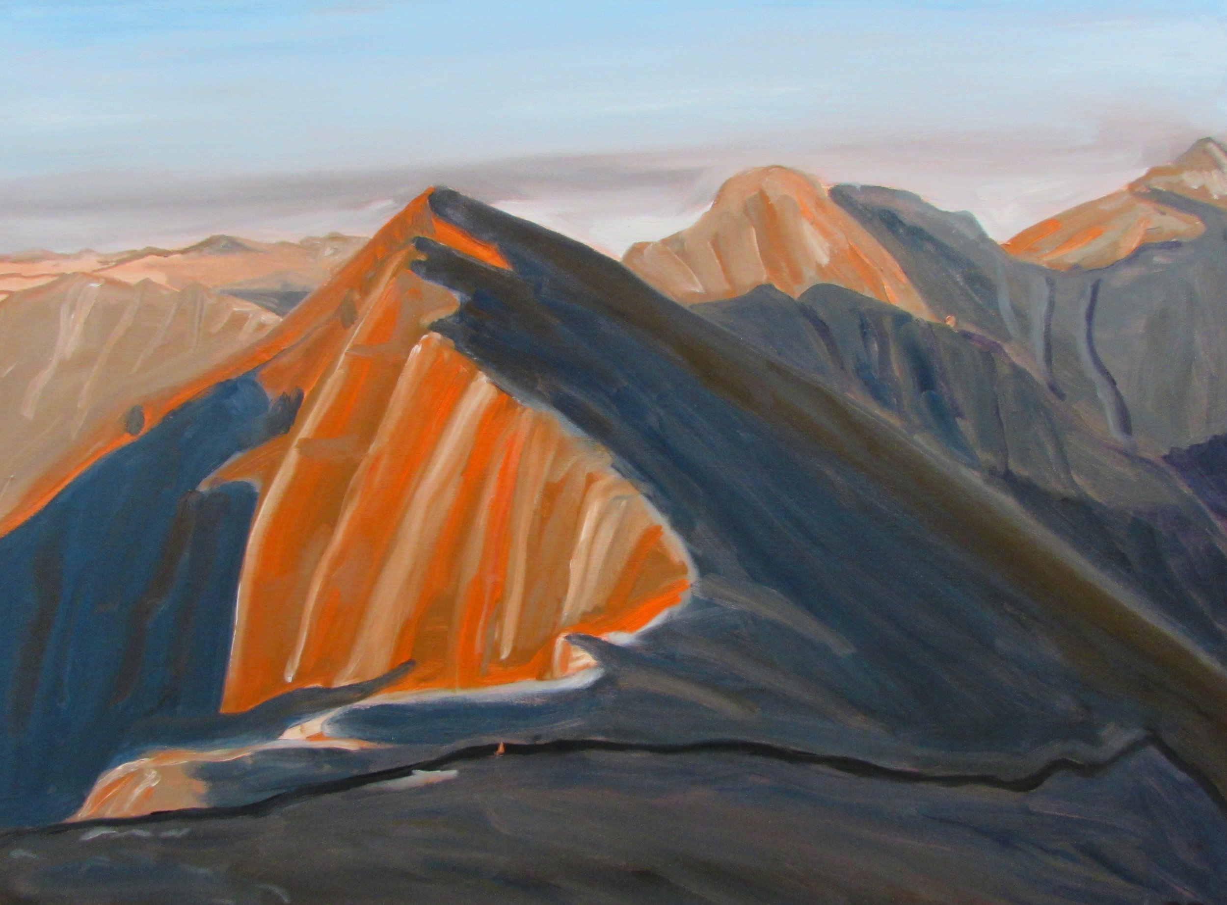 """Early light from Mt. Uncompahgre, 36"""" x 48"""", 2017"""