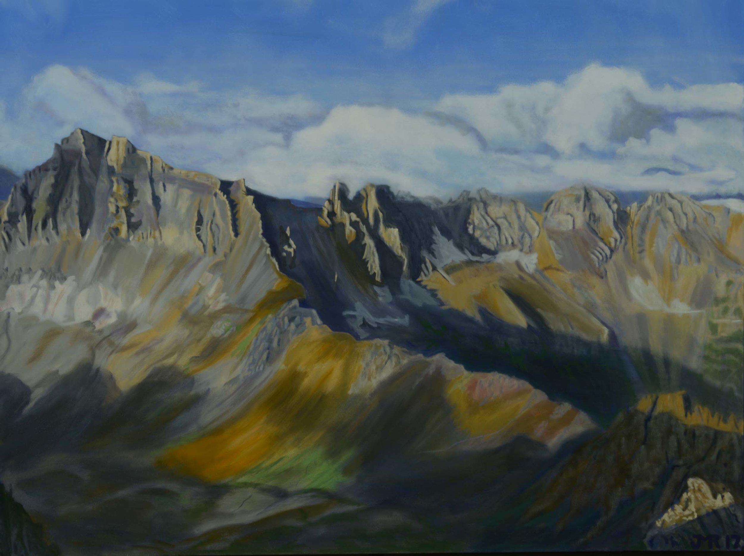 """Morning light from Mt. Sneffles, 36"""" x 48"""", 2017,"""