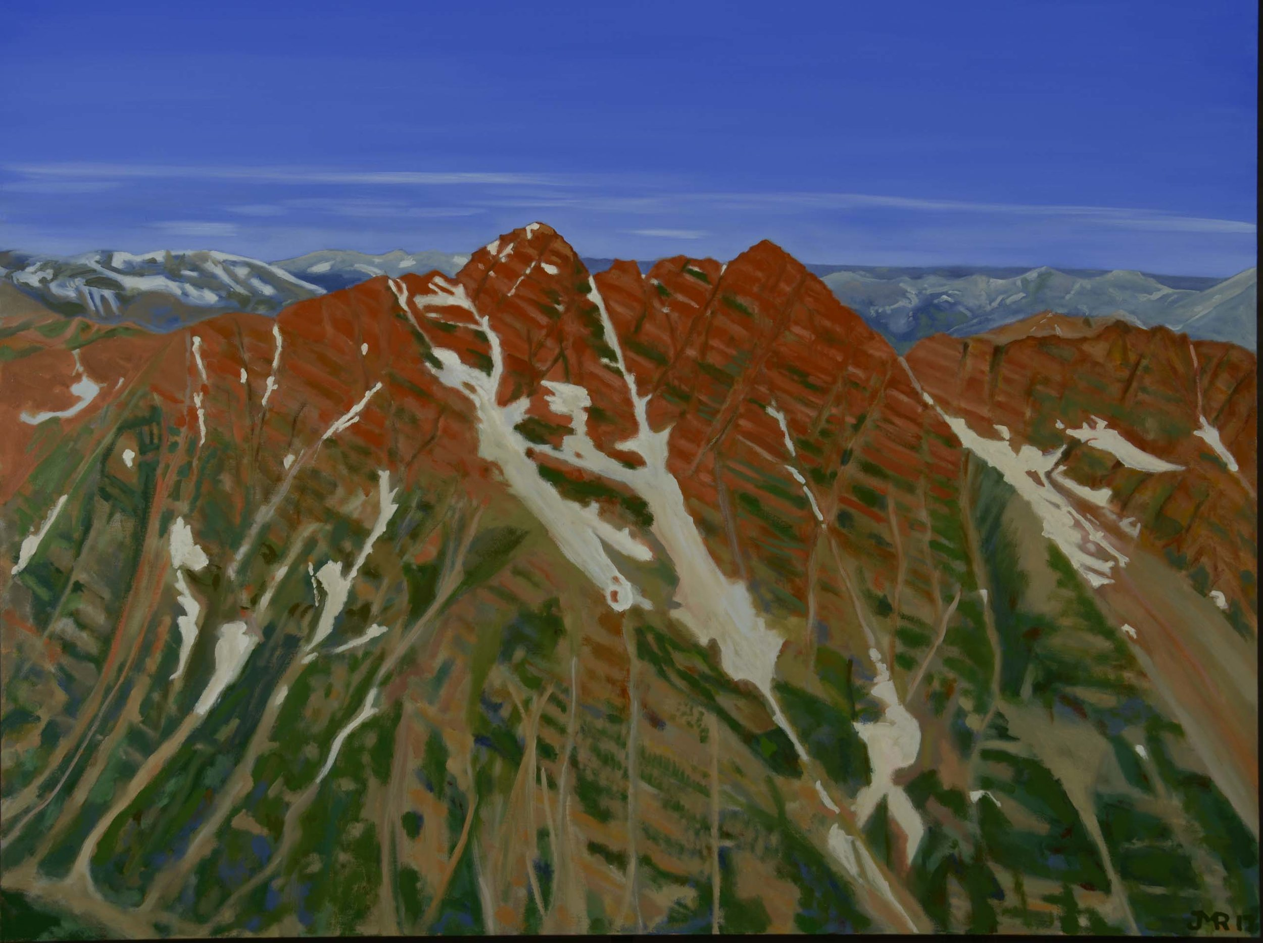 """The Bell Couloir from Pyramid Peak, 38"""" x 48"""", 2017"""
