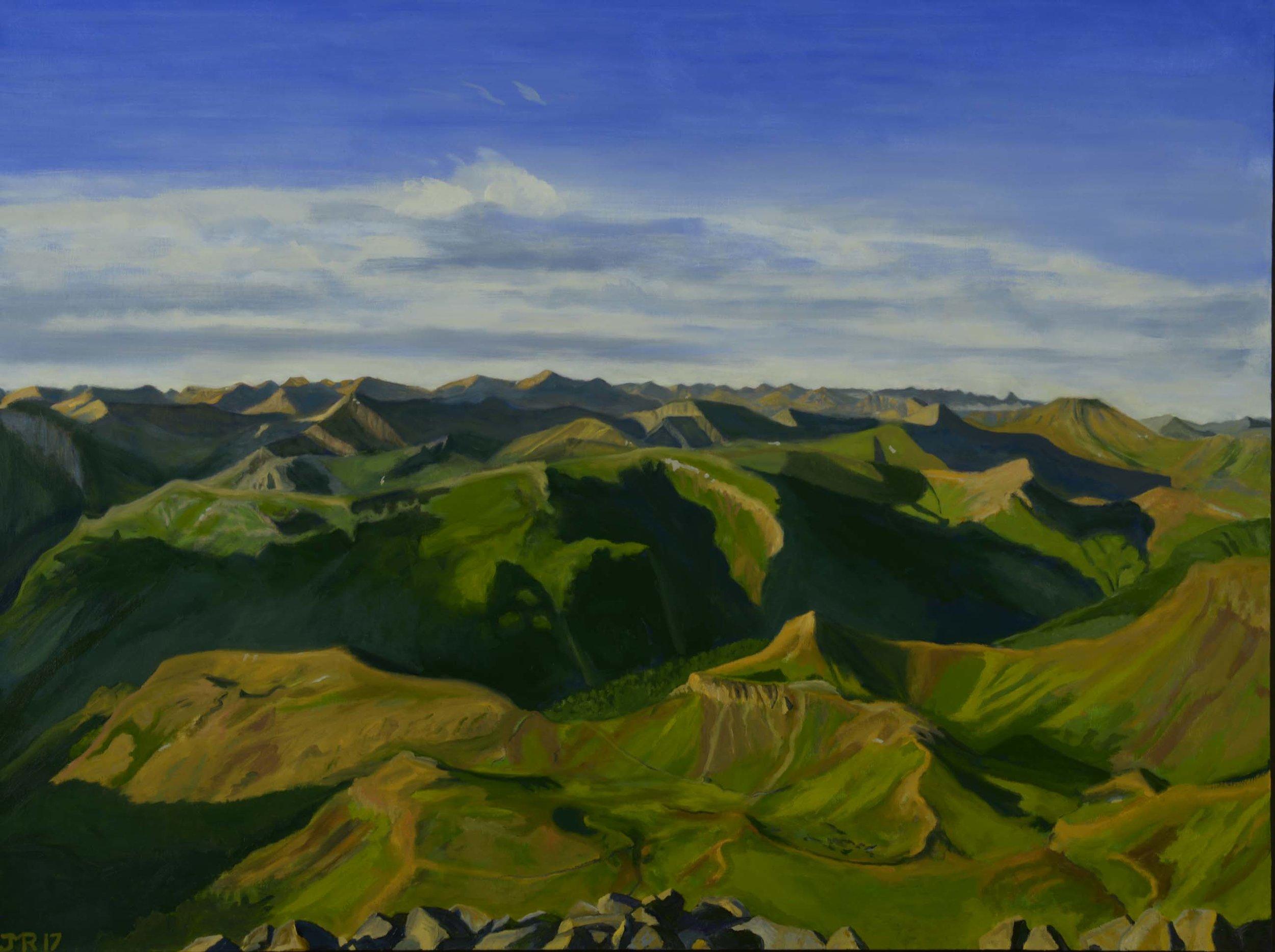 """Morning vista from Mt. Wetterhorn, 36"""" x 48"""", 2017"""