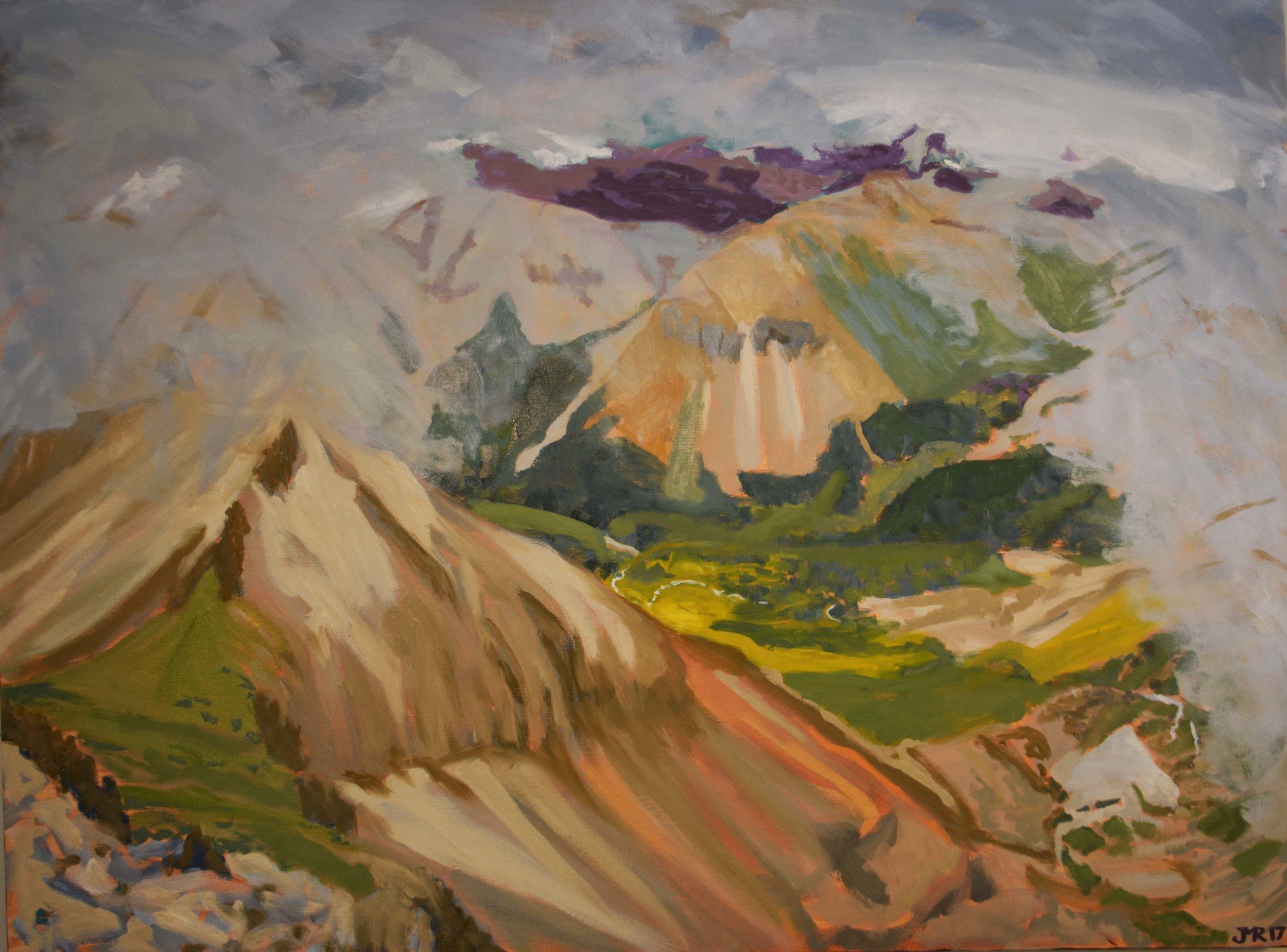 """Getting a peak from Wilson Peak, 36"""" x 48"""", 2018"""
