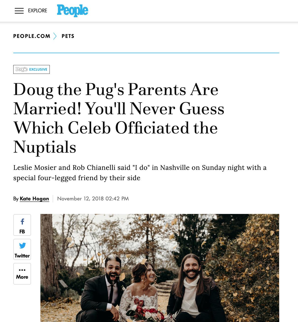 People.com - Leslie + Rob + It's Doug the Pug
