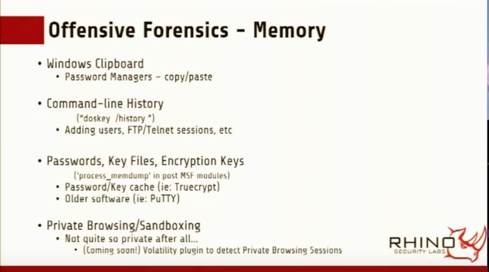 A few of the artifacts one can acquire form an memory acquisition. (Slide by Benjamin Caudill)