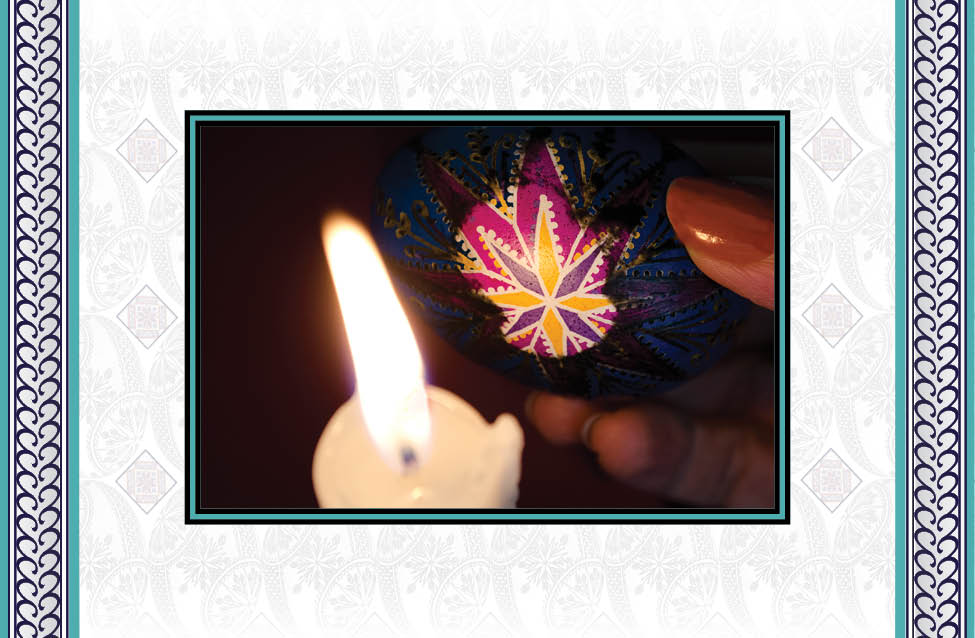 - When the design is complete, remove the beeswax by holding the eggshell close to – but not touching – the candle's flame. The heat will make a patch of beeswax glossy as it starts to melt. Wipe away the melting beeswax with a tissue. Repeat until all the wax is gone.