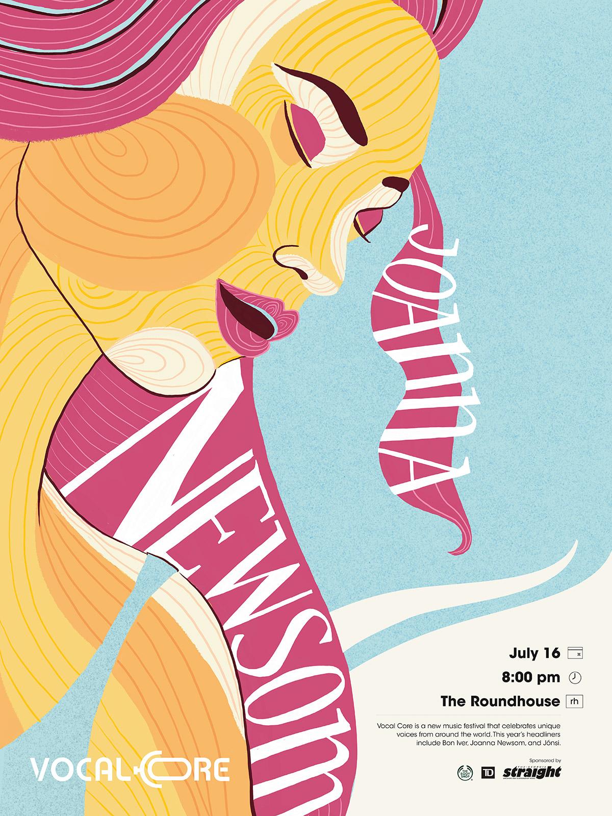 Vocal-Core-Music-Festival-Joanna-Newsome-Poster-illustration-and-design-by-Fiona-Dunnett.jpg