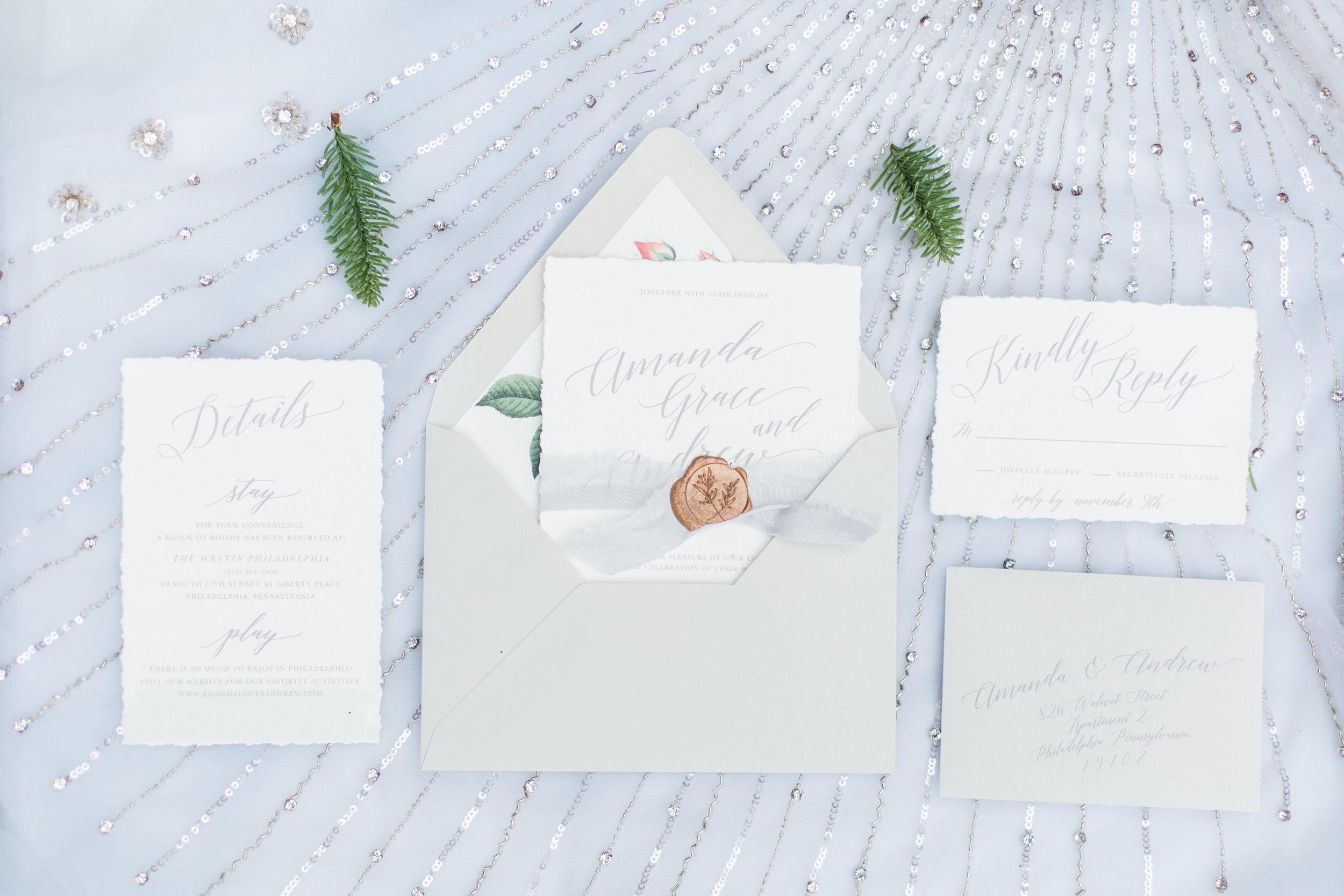 Romantic Calligraphy Wedding Invitation Suite