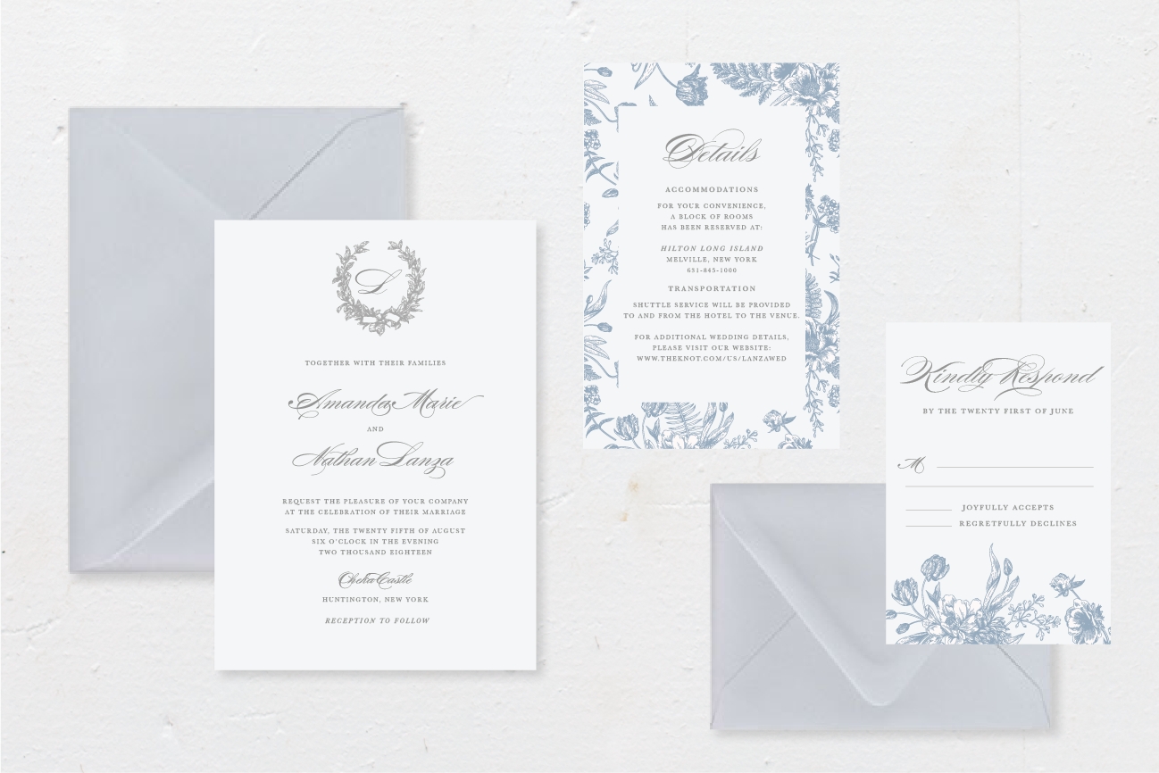 5-PIECE SUITE - Includes: invitation + envelope, response card + envelope, 1 details card