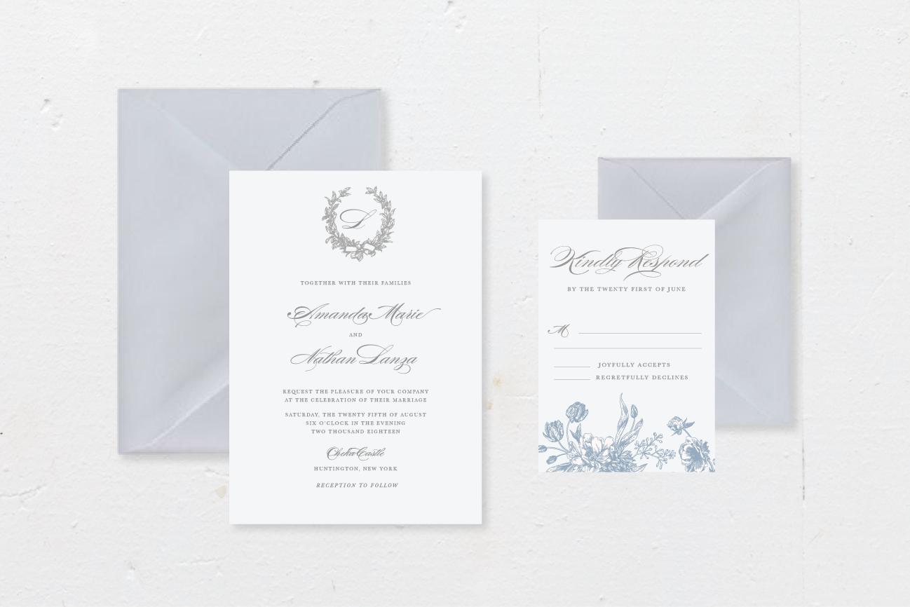 4-PIECE SUITE - Includes: die-cut invitation + envelope, response card + envelope