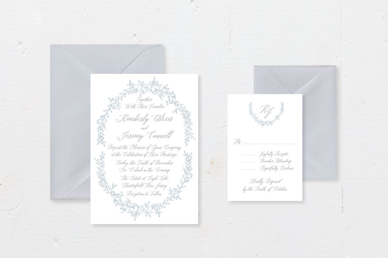 4-PIECE SUITE - Includes: invitation + envelope, response card + envelope